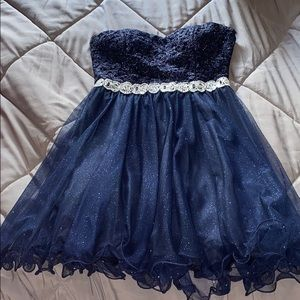 Blue strapless homecoming dress